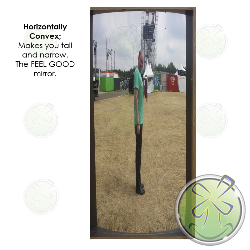 Smile mirror shape Sphere Width makes you tall and narrow. Feel good mirror!