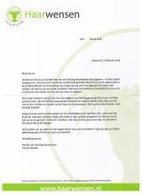 Thank you letter from the Haarwensen Foundation to Senna!